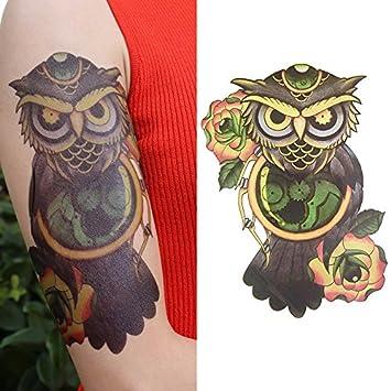Oottati Tatuajes Temporales Old School Búho Flor Del Color (2 ...