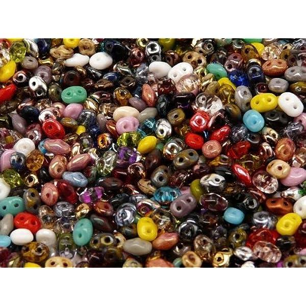 SUPERKH\u00c9OPS Beads,\u00aePar Puca\u00ae BARGAIN BASEMENT approx 10 gms each a total of appr 60 gms 6mm listed below. 2 Hole 6 colours in one unit