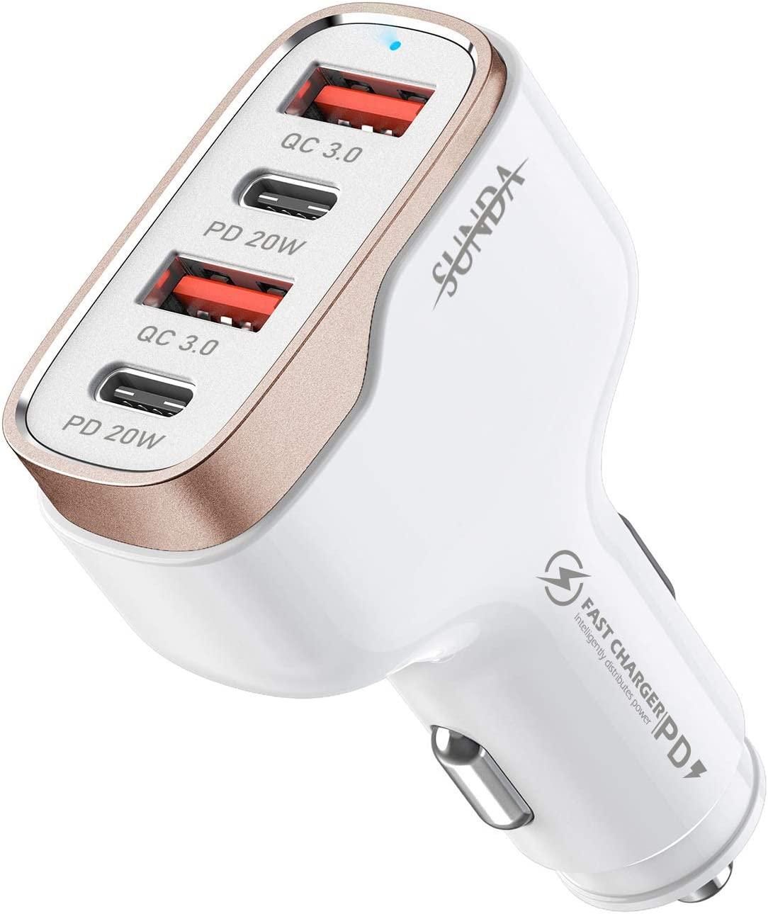 SUNDA 40W USB C Fast Car Charger, 4-Ports Car Charger Adapter, Dual Type C PD 20W Compatible with iPhone12/11 Pro/Max/iPhone11/Pad Pro/Galaxy/Samsung, Dual USB-A 18W QC3.0 for Android