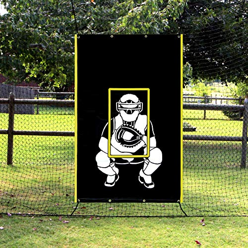 Vanta Sports Baseball Softball Heavy Vinyl 4x6 Backstop Net Saver with Catcher Image and Pitching Zone Target Trainer -