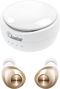 ELECDER D11 True Wireless Earbuds Bluetooth 5.0 Headphones in Ear with Microphone, IPX5 Waterproof, Charging Case for Workout, Running (White)