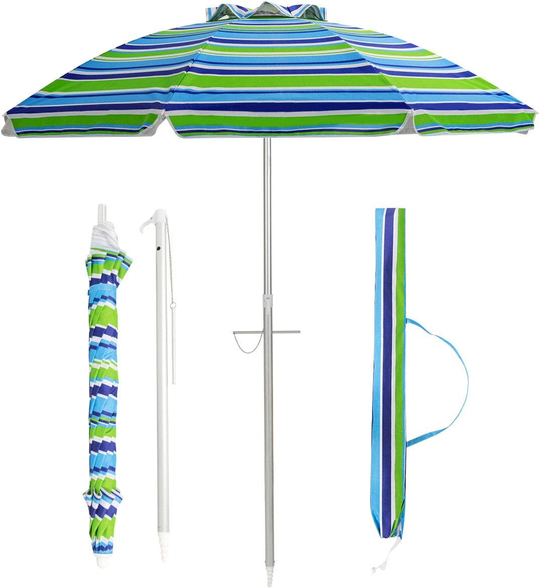 Tangkula 6.5ft Outdoor Beach Umbrella with Sand Anchor, Patio Umbrella with Push Button Tilt UPF 50 Protection, Portable Sunshade Umbrella with Carry Bag for Garden Beach Outdoor