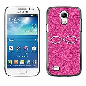 Paccase / SLIM PC / Aliminium Casa Carcasa Funda Case Cover - Infinite Pink Glitter Infinity Loop - Samsung Galaxy S4 Mini i9190 MINI VERSION!