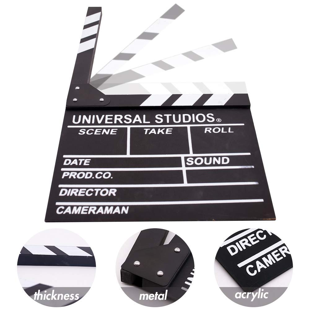 Movie Film Clap Board 12x11 Give Away White Erasable Pen Hollywood Clapper Board Wooden Film Movie Clapboard Accessory with Black /& White