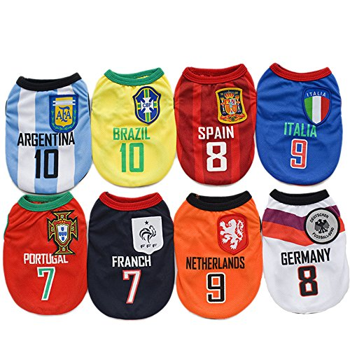 Amakunft World Cup Dog Jersey, Football T-Shirt Dogs Costume, National Soccer Dog Pajamas FIFA Jersey Cats Onesie for Dogs and Cats -