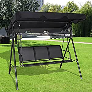 T-foot 3 Person Canopy Swing Chair Outdoor Patio Canopy Hammock Black