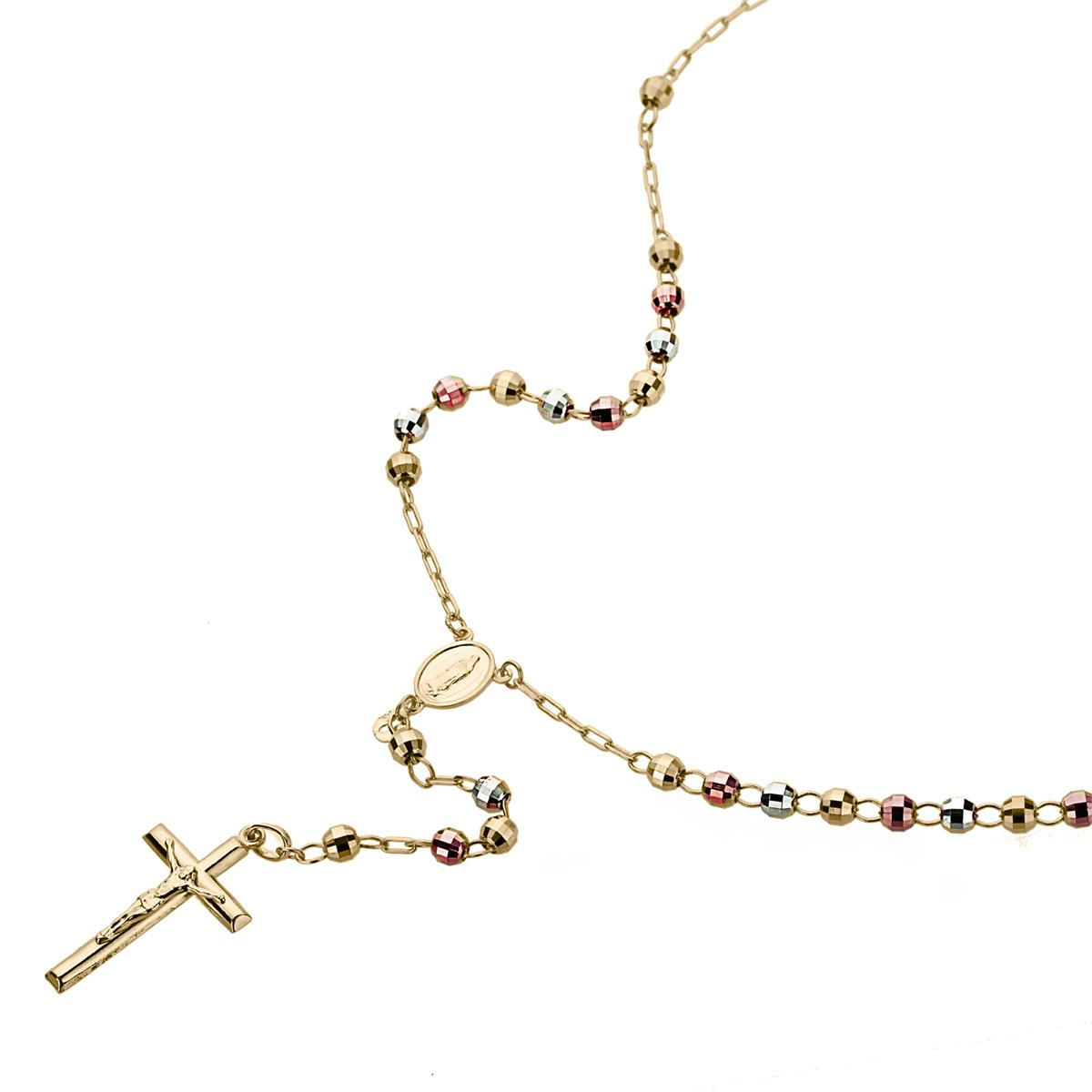 14K Gold Tri-color, Yellow or White Gold Chain 3mm DC Bead Rosary Chain Necklace (16, 18, 20, 24 Inches), 20''