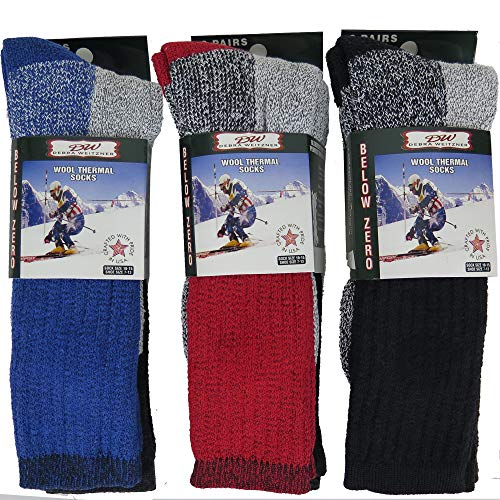 Mens Thermal Socks Heavy Extreme Cold Weather Boot Socks 6-pack