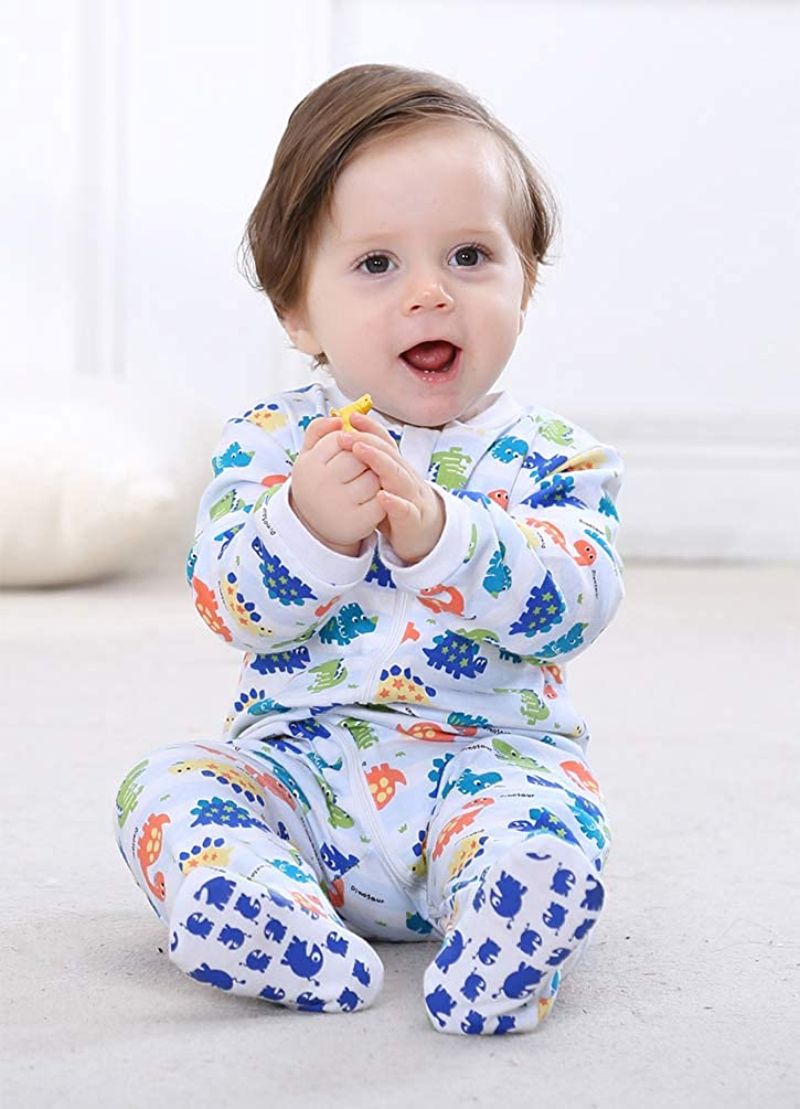 2-Pack Baby Footed Pajamas Organic Cotton Sleep and Play Baby Sleeper 0-24 Months