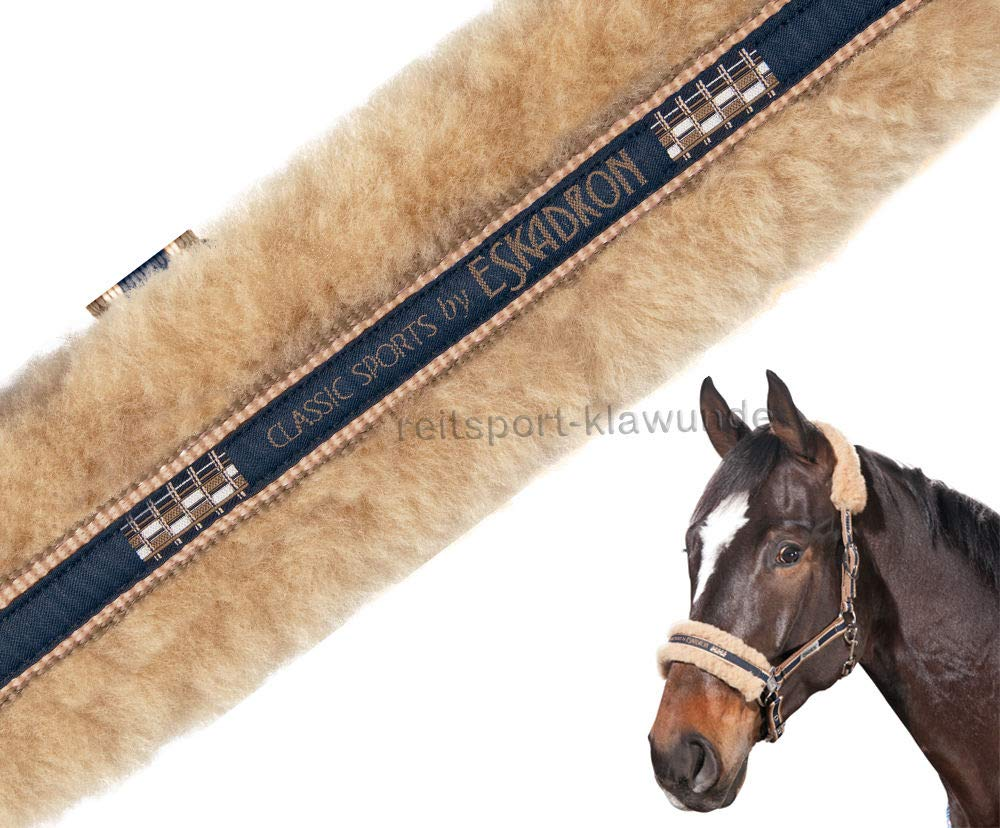 Navy-Lightn.-Nougat warmblood Navy-Lightn.-Nougat warmblood Eskadron sheepskin headcollar with thorn buckle CLASSIC SPORTS