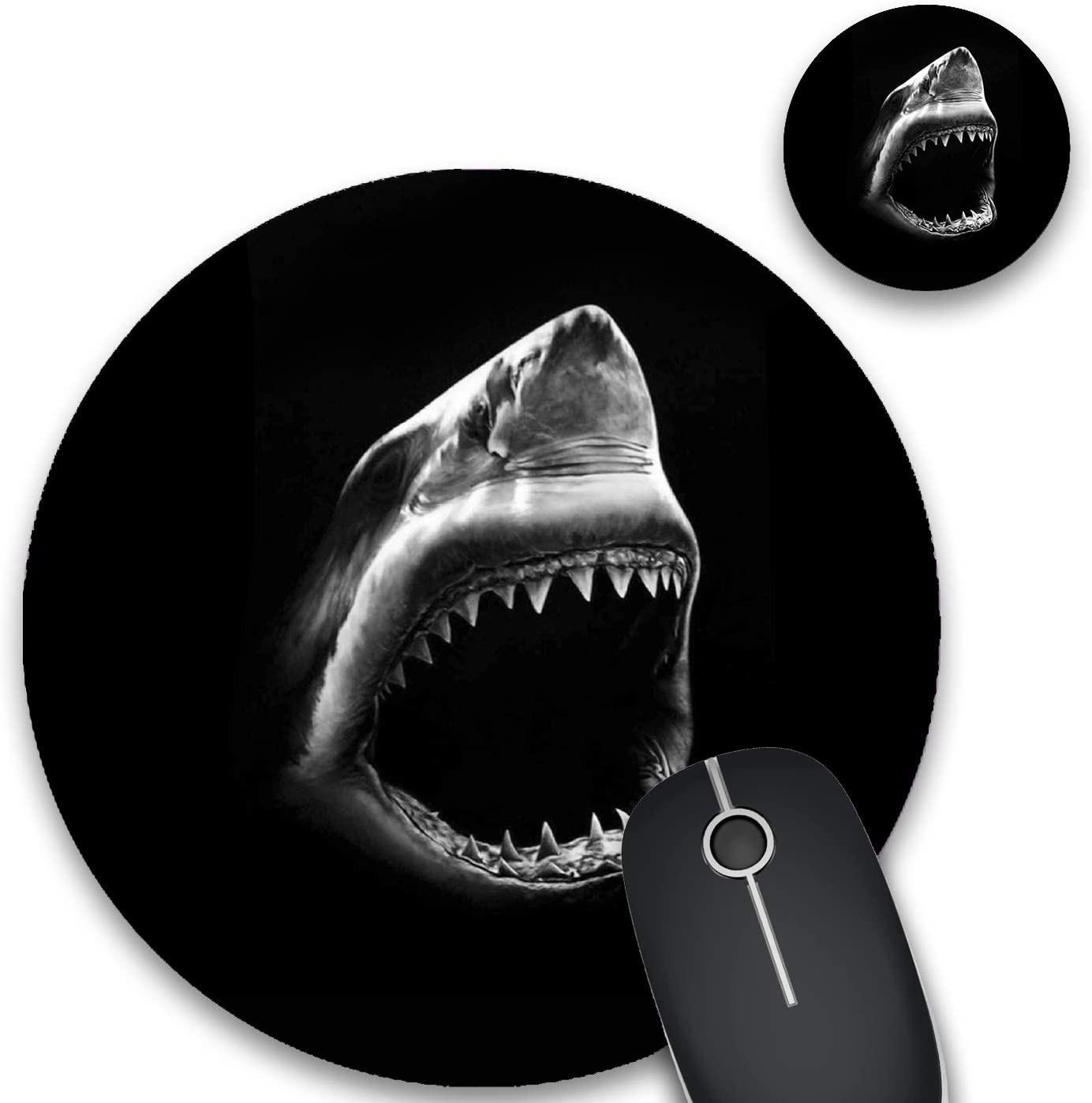 Round Mouse Pad and Coasters Set, Black and White Shark Mousepad, Non-Slip Rubber Round Gaming Mouse Pad, Customized Mouse Mat for Home Office Business Gaming,7.87 x 7.87 x 0.1 Inch