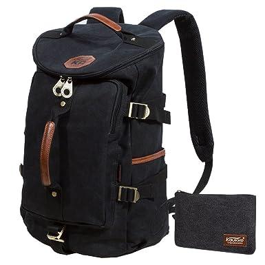KAUKKO Canvas Backpack Unisex Rucksack Knapsack Casual Hiking Travel  Shoulder Bag Satchel for Outdoors (Black