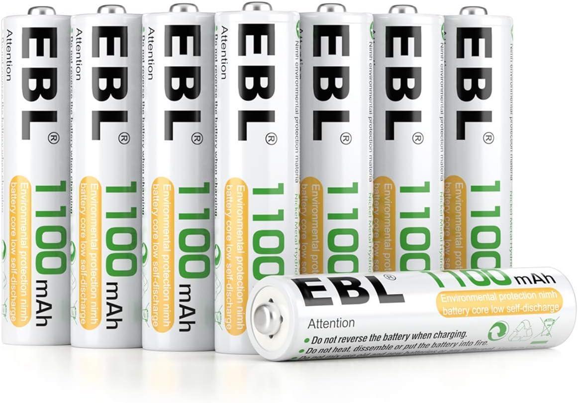 Paquete de Pilas AAA NI-MH marca EBL -Recargables 1100 mAh, paquete de 8, incluye estuche de almacenamiento.