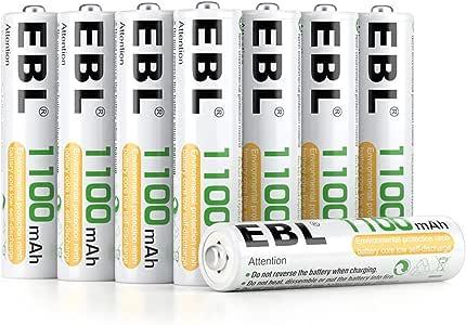 EBL 1100mAh AAA Ni-MH 1200 Ciclo de Pilas Recargables para los Equipos Domésticos con Estuches de Almacenamiento (8 Piezas): Amazon.es: Electrónica