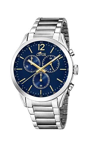 7658e3b39be0 Lotus Watches Reloj Cronógrafo para Hombre de Cuarzo con Correa en Acero  Inoxidable 18114 3  Amazon.es  Relojes