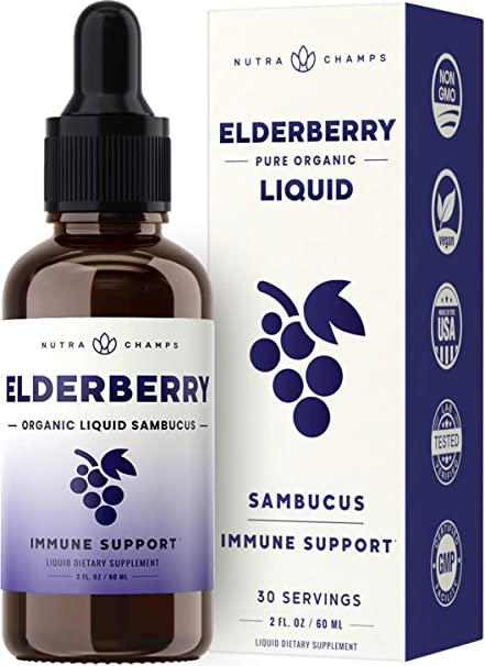 NutraChamps Organic Double Strength Elderberry Syrup Extract