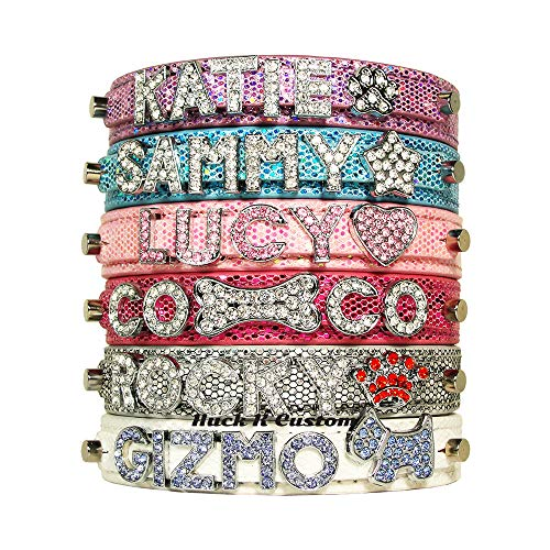 - CockerWoofWoof Personalized Paillette Pattern PU Leather Pet Dog Cat Collar with Rhinestone Buckle, Free Name (up to 6 Letters) & Charm (1 Free Charm) XS S M Extra Small Medium