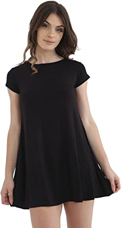 Womens Ladies Short Sleeve Skater Swing Dress Jersey FlaredTea Plain Party Dress