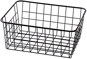 Sturdy Small Wire Storage Basket with Kitchen Food Pantry Papers Home Office Desk Shelf Bathroom Laundry Room Shelf Bedroom Bed Room