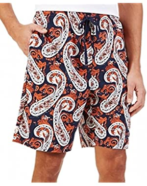 Men's Knit Sleep Short, Navy Orange Paisley, Small