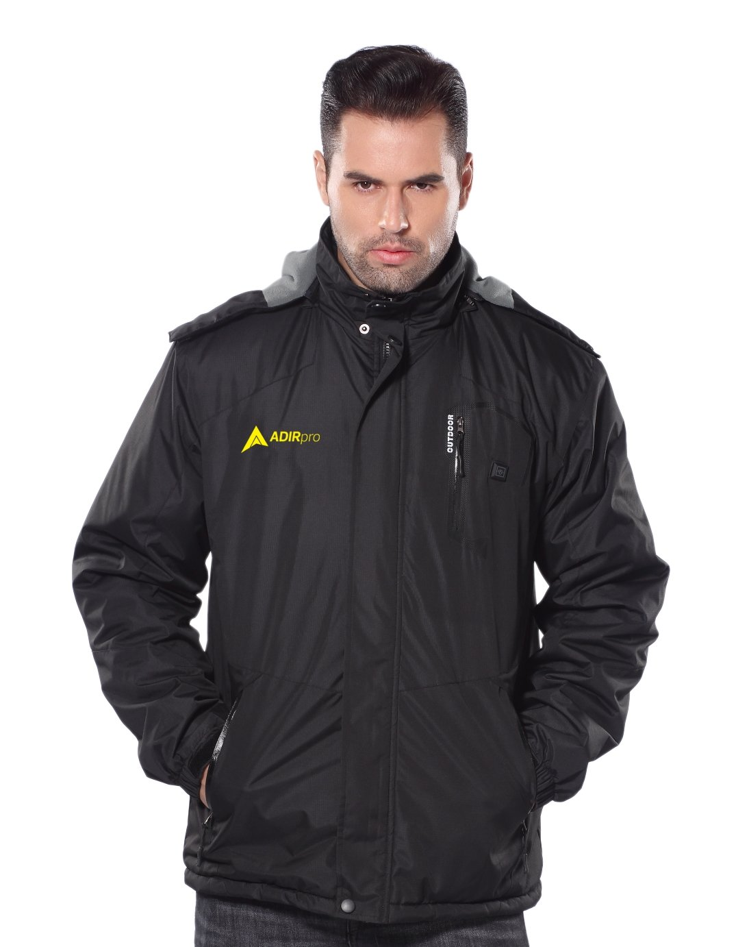 AdirPro Men's 5-Volt Max Lithium-Ion Soft Shell Heated Jacket Kit with 2.0Ah Battery (Large, Black)