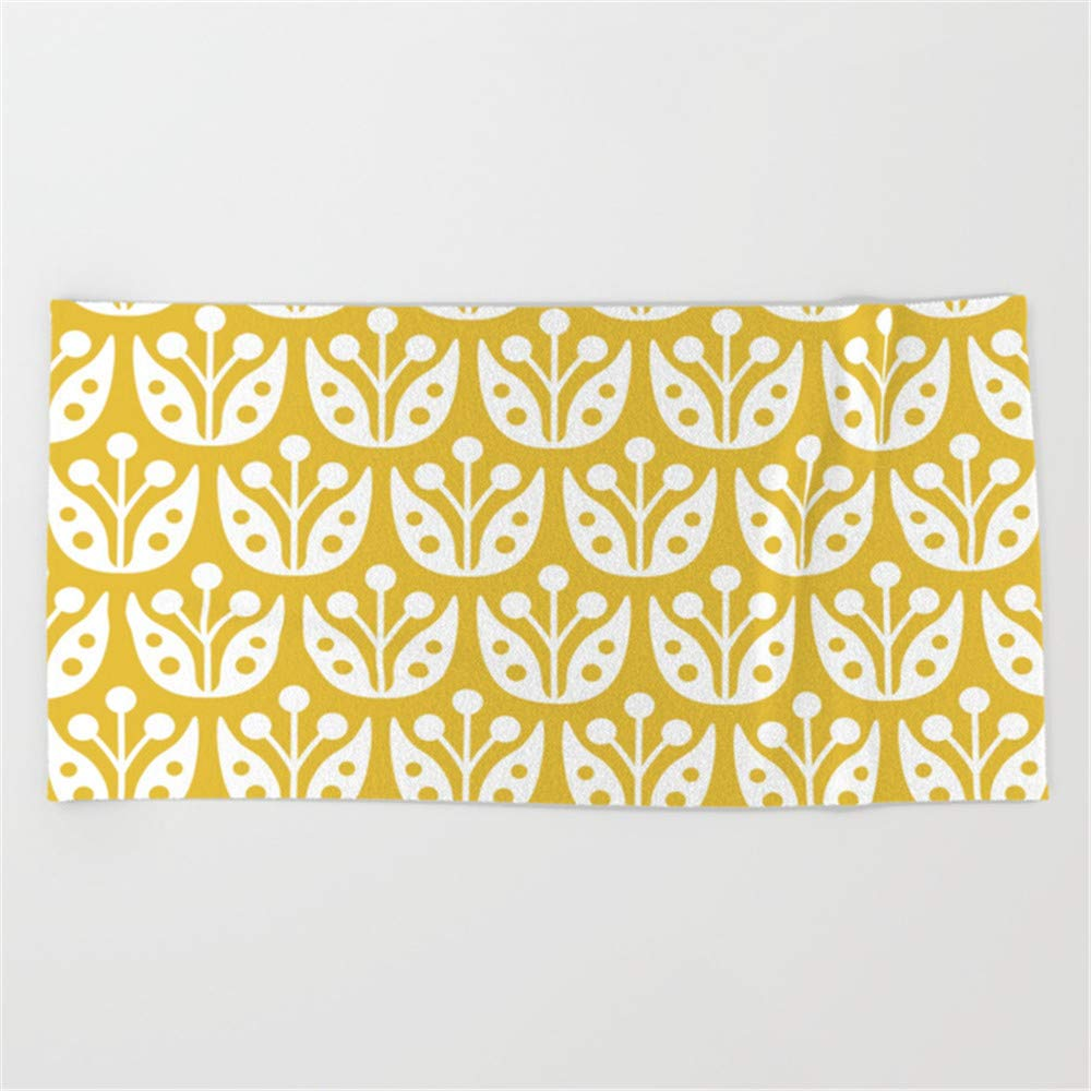 Mid Century Modern Flower Pattern Mustard Yellow Beach Towel 31x51 Inches Huishe1