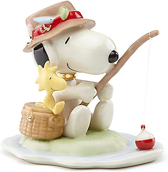 Lenox Peanuts Fishing Buddies Figurine Snoopy Woodstock Angler Creel Beagle
