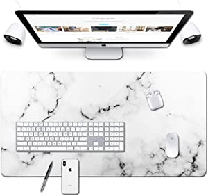 Desk Size Mouse Pad Office Mousepad Large Decorative Mouse Pads X-Large Gaming Mouse Mat Rubber Base Stiched Edges XXL XXXL Gamepad for PC Laptop Computer Simple Design Marble HD Print (02White)