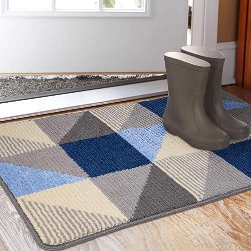 Indoor Doormat 23 x 35 , Absorbent Front Back Door Mat Floor Mats, Rubber Backing Non Slip Door Mats Inside Mud Dirt Trapper Entrance Front Door Rug Carpet, Machine Washable Low Profile-Blue Triangle