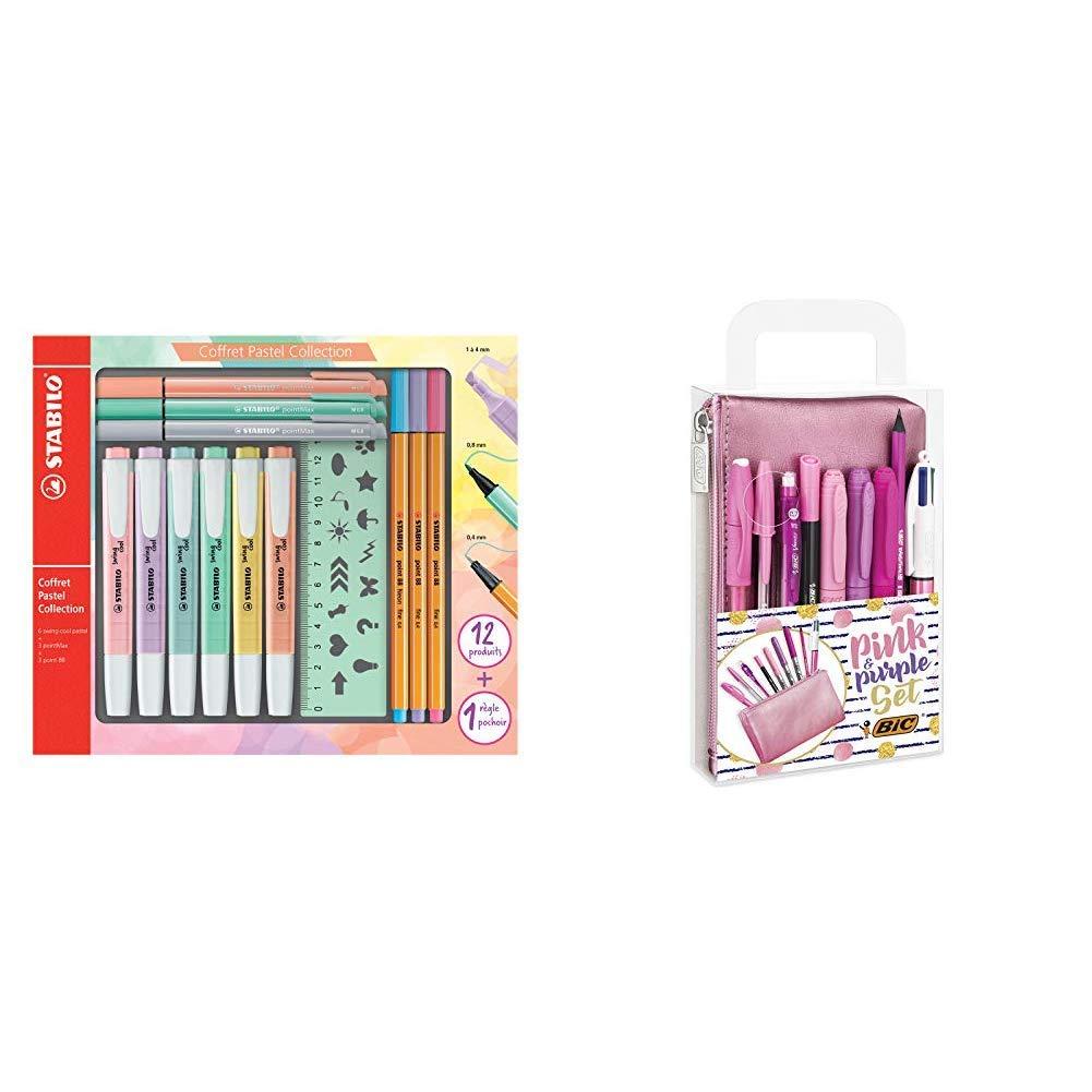 3/point 88 3/pointMax 1/righello stencil /& 275//8-3 Swing Cool Evidenziatore Astuccio STABILO Pastel Collection Set /Confezione mista 13/pezzi: 6/swing cool pastel