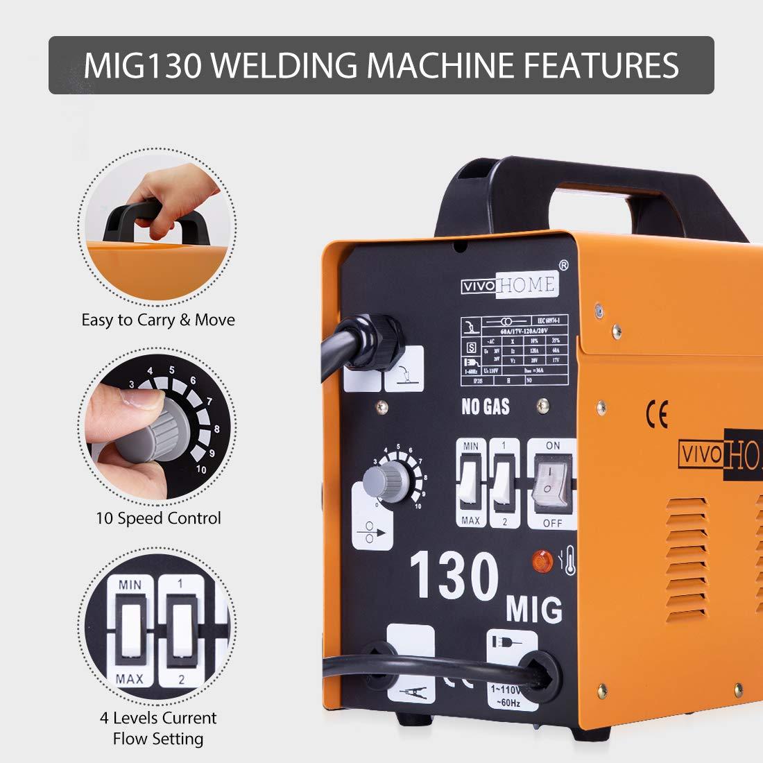 VIVOHOME Portable Flux Core Wire No Gas MIG 130 Welder Machine 110V by VIVOHOME (Image #3)