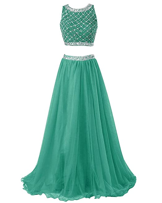 01ced10254be Amazon.com: Callmelady Two Piece Long Prom Dresses for Women with Sleeveless  Sequined Top: Clothing