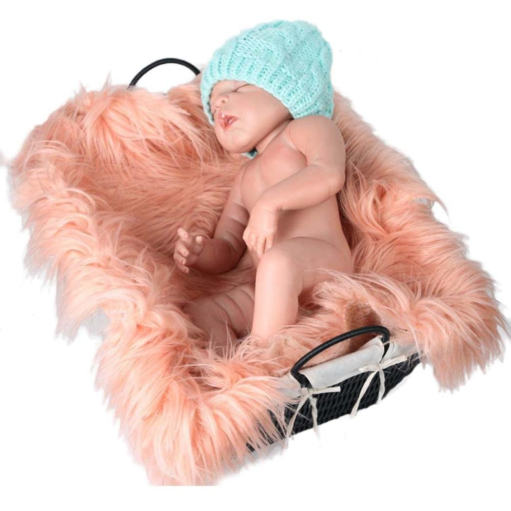 Staron Newborn Baby Photography Prop Blanket, Baby Photo Props Mat Faux Fur Soft Background Photography Blanket Rug, 19.7x23.6 (Beige❤️)