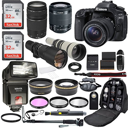 Canon EOS 80D Digital SLR Camera with EF-S 18-55mm IS STM & EF 75-300mm f/4-5.6 III + 500mm Preset Telephoto Zoom Lens + 650-1300mm Telephoto Lens + Accessory Bundle (21 Items)