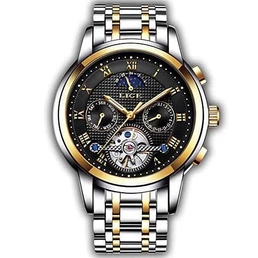 Relojes para Hombres Moda Relojes automáticos mecánicos LIGE Marca Relojes de Acero Inoxidable, Vestido de Lujo para Hombre Reloj: Amazon.es: Relojes