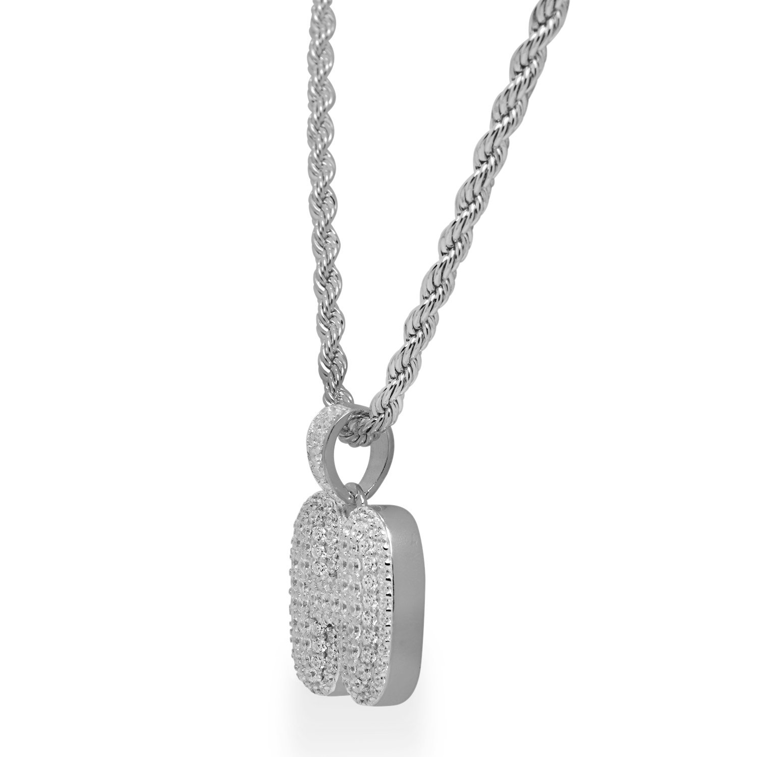 925 Sterling Silver White Gold-Tone Iced Out Hip Hop Bling Bubble Alphabet Letter H Pendant with 24 Rope Chain