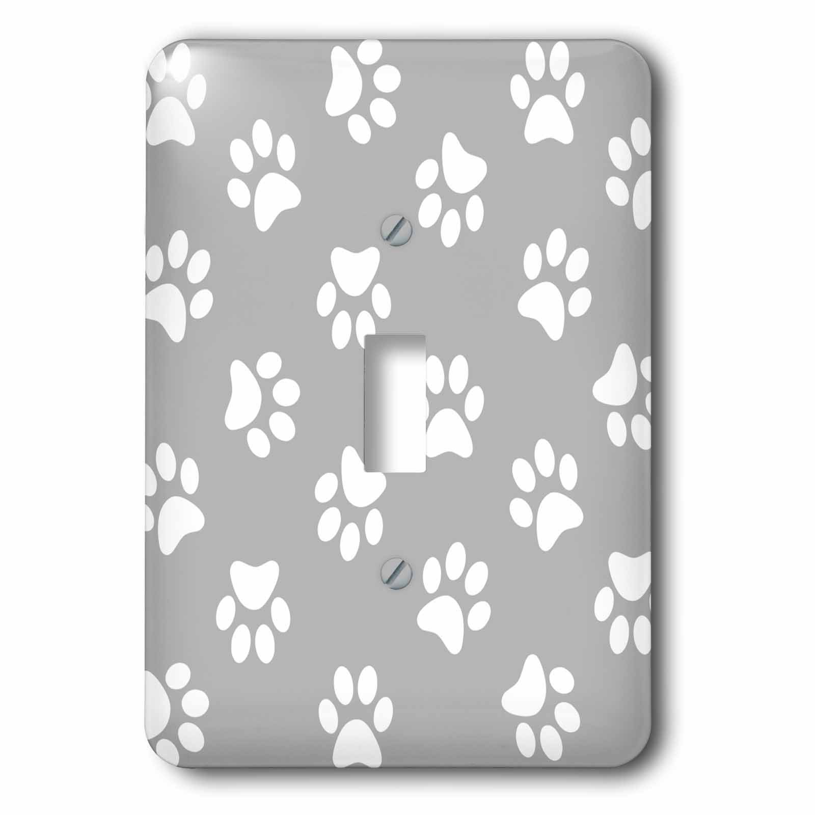 3dRose lsp_161526_1 Gray and White Paw Print Pattern - Grey Pawprints - Cute Cartoon Animal Eg Dog or Cat Footprints Single Toggle Switch