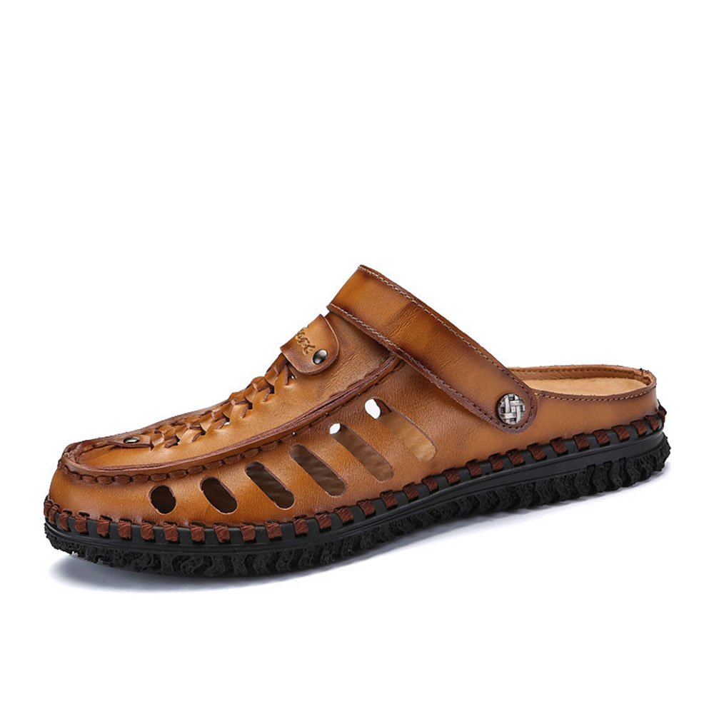 Beiläufige Sandalen Breathable der Sommer-Männer Bequeme Lederne Strand-Schuhe Breathable Sandalen Rutschfeste Schuhe Braun 64a473