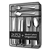 Teivio 24 Piece Silverware Set, Flatware Utensils Set Mirror Polished, Dishwasher Safe Service for 4, Include Knife/Fork/Spoon with 4 Steak Knife and Wire Mesh Steel Cutlery Holder Storage Trays Larger Image