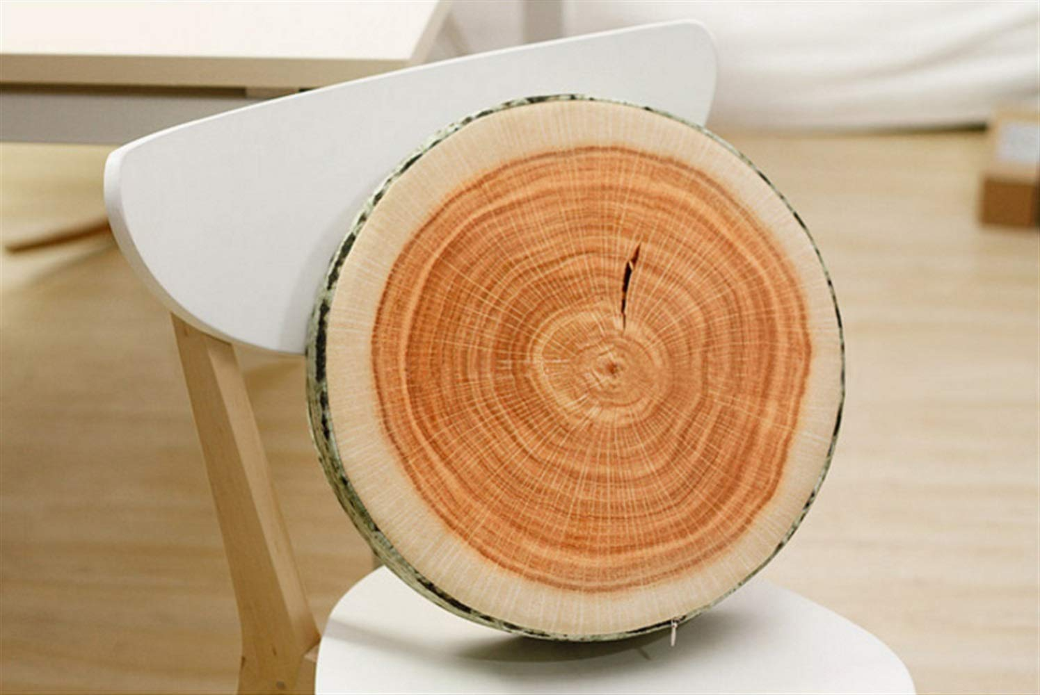 Beautiful and Practical Simulation Wood Pillow Round Stump Wood Cutting Board Modeling Cushion Pillow