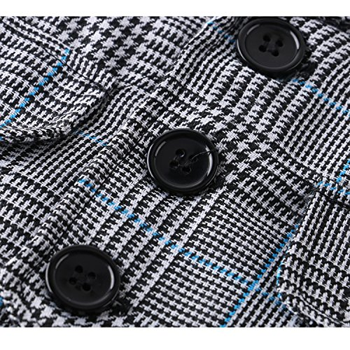 Baby Boy Short Sleeve With Bowtie Checked Gentleman Romper Toddler Outfit Clothing Set 1pcs Jumpsuit (Label 80 / 6-12 Months, Blue)