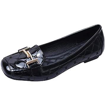 Fuxitoggo Mocasines de Metal sin Cordones con Punta Cuadrada para Mujer (Color : Negro, tamaño : 6 UK): Amazon.es: Hogar