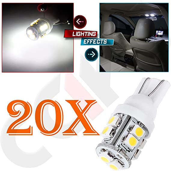 cciyu 20 Pack W5W 921 168 194 Super White T10 10-SMD LED Light bulbs Wedge RV Landscaping Replacement fit for 2010-2013 Lexus RX450h