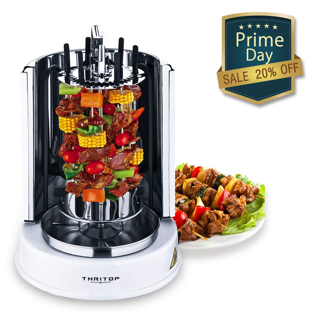 THRITOP Vertical Rotisserie Oven 1100W,Electric Grill Multi-Function Ajar-Door Countertop Oven, Shawarma Machine Rotisserie Grill for Home- Broiling Meat Layers, Shashlik, Gyros, Sausages, Poultry