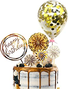 Gold Cake Topper Happy Birthday Cake Topper Confetti Balloon Cake Topper Fan Cupcake Toppers Birthday Cake Decoration Supplies (6 Pieces)