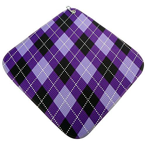 (Women's Golf Accessories Gifts Microfiber Golf Towel Purple Argyle Print by BeeJos)