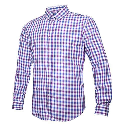 NUTEXROL Men Plaid Cotton Casual Slim Fit Long Sleeve Button Down Dress Shirts (Medium, Purple(New))
