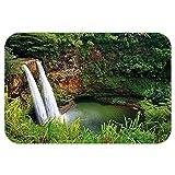 VROSELV Custom Door MatLandscape Majestic Twin Wailua WaterfallKauai Hawai Greenery Forest GrasNature Scenic View Green