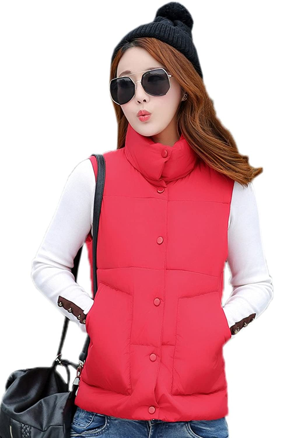 Smile YKK Womens Cotton-Padded Puffer Vest High Neck Sleeveless Down Coat