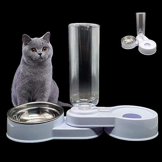 2 in 1 Comedero y Bebedero Automático para Gatos y Perros,Dispensador de Agua Pequeño, Comedero de Perros para Ralentizar la Comida, Gato Comedero De Agua para Mascotas, (Blanco y Azul) (Blanco): Amazon.es: